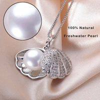 Gargantilla de perla  de agua plateada