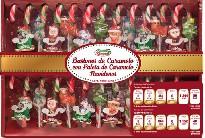 Bastones de caramelo navideños