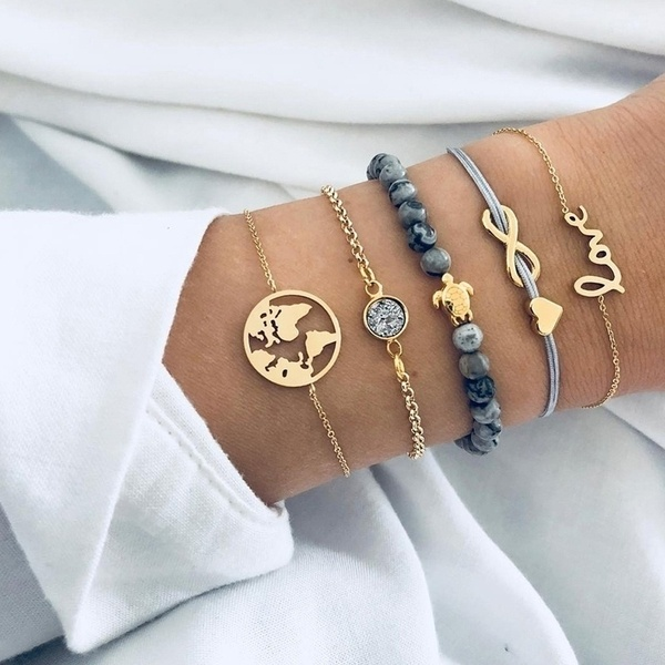 Set de 5 pulseras dama love