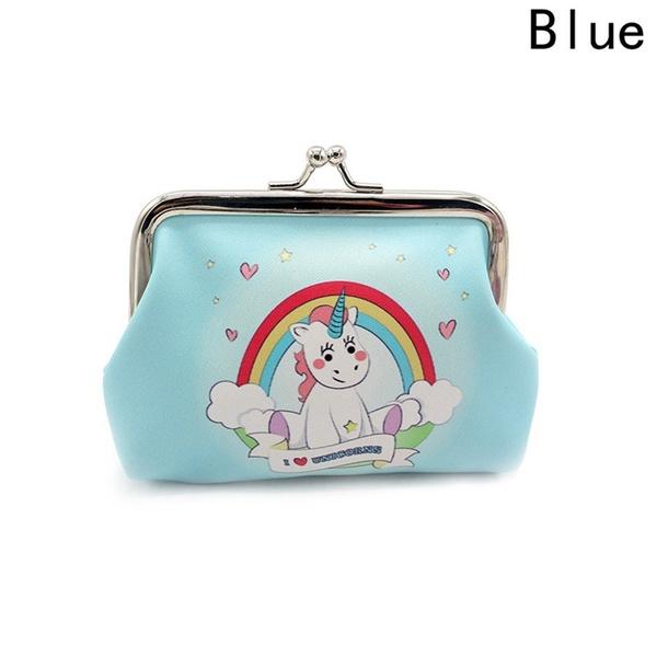 Monedero azul unicornio