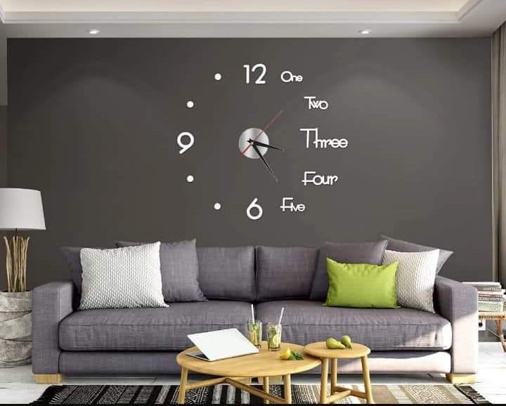 Reloj de pared decorativo adhesivo moderno A plata